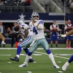 Dallas Cowboys' Dak Prescott (4) throws a pass under pressure from Green Bay Packers' Kyler Fackrell (51) in the second half of an NFL football game in Arlington, Texas, Sunday, Oct. 6, 2019.