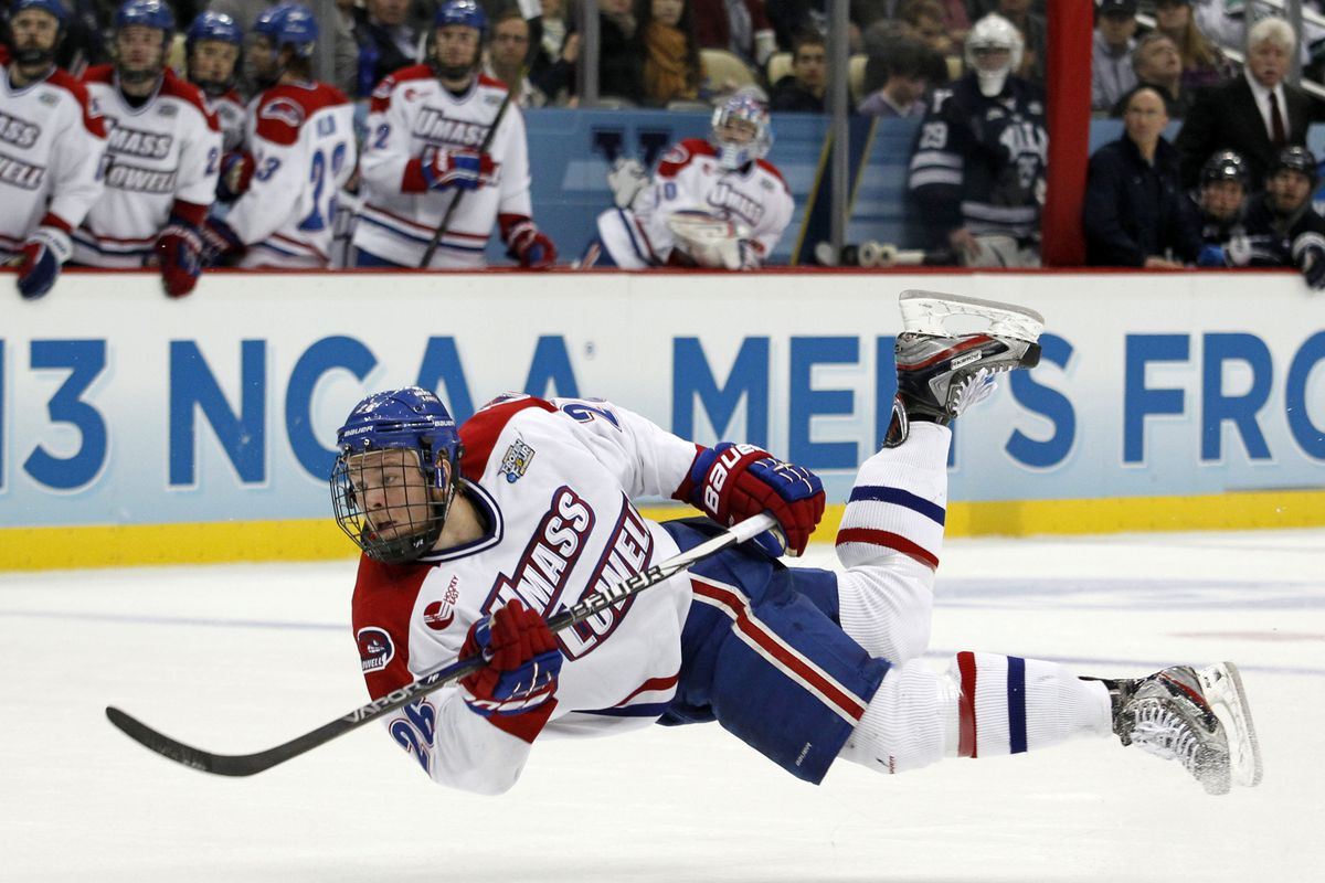 Christian Folin is seen here taking a shot at the 2013 Frozen Four at the CONSOL Energy Center in Pittsburgh.