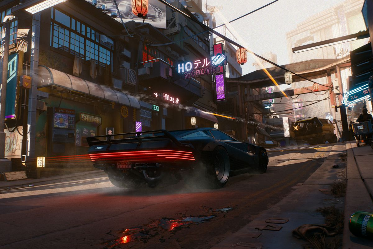 Cyberpunk 2077 - two guys shooting out of a van at a sports car that's following them