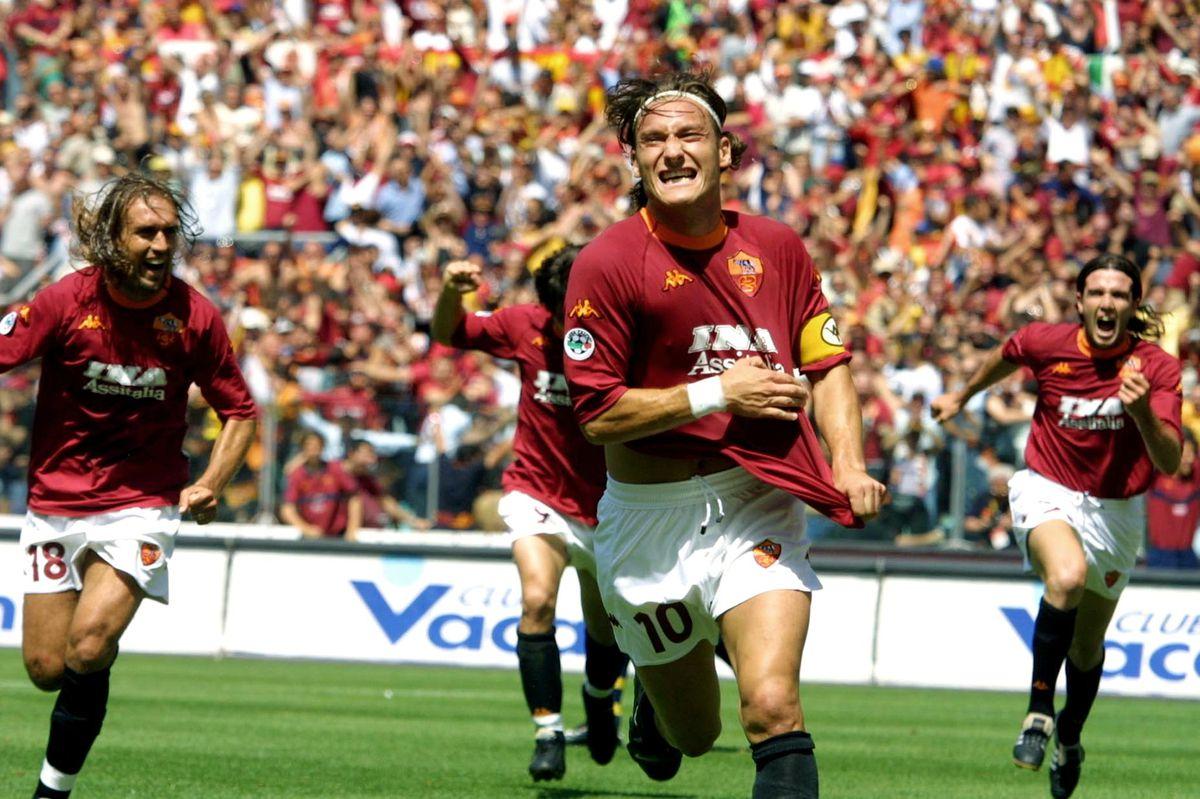 AS Roma's captain Francesco Totti jubilates after
