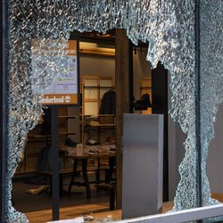 Timberland at 625 N. Michigan Ave. on the Magnificent Mile after looting broke out overnight in the Loop and surrounding neighborhoods, Monday morning, Aug. 10, 2020.