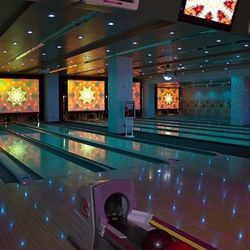 The bowling lanes at Drink & Drag.