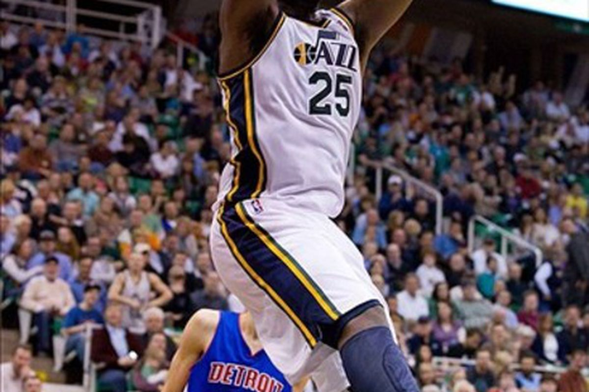 March 12, 2012; Salt Lake City, UT, USA; Utah Jazz center Al Jefferson (25) dunks during the second half against the Detroit Pistons at Energy Solutions Arena. The Jazz defeated the Pistons 105-90. Mandatory Credit: Russ Isabella-US PRESSWIRE