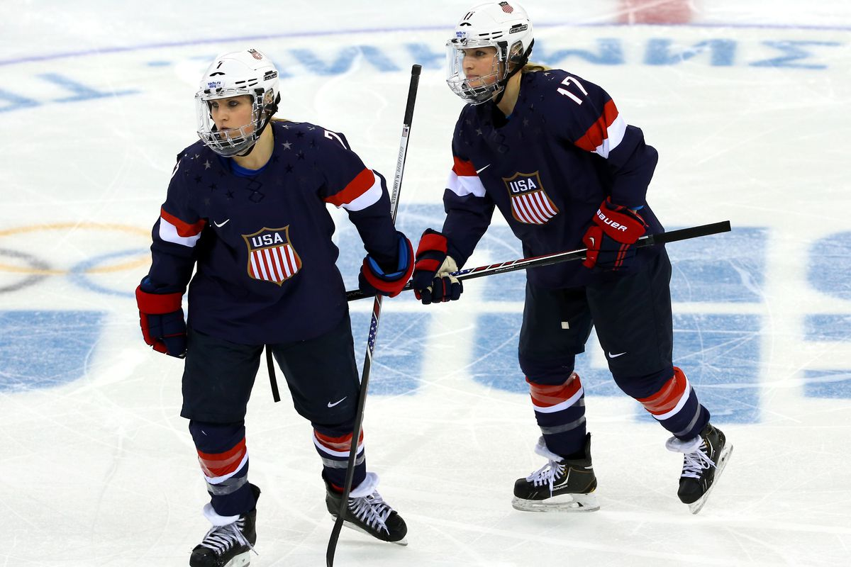 Monique and Jocelyne Lamoureux are awesome hockey players, are twin sisters and both went to the same college as TJ Oshie. And America and shit.