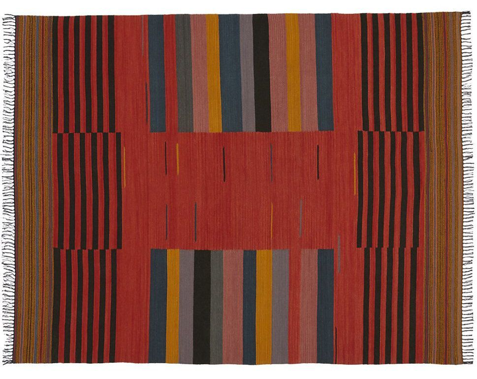A rug with a colorful striped pattern.
