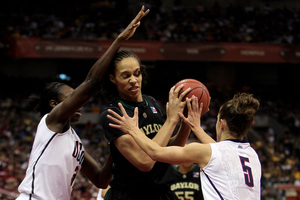 Freshman Brittney Griner is pressured by fellow USA Basketball finalist Tina Charles and Caroline Doty at the 2010 Final Four.  (Photo by Jeff Gross/Getty Images)