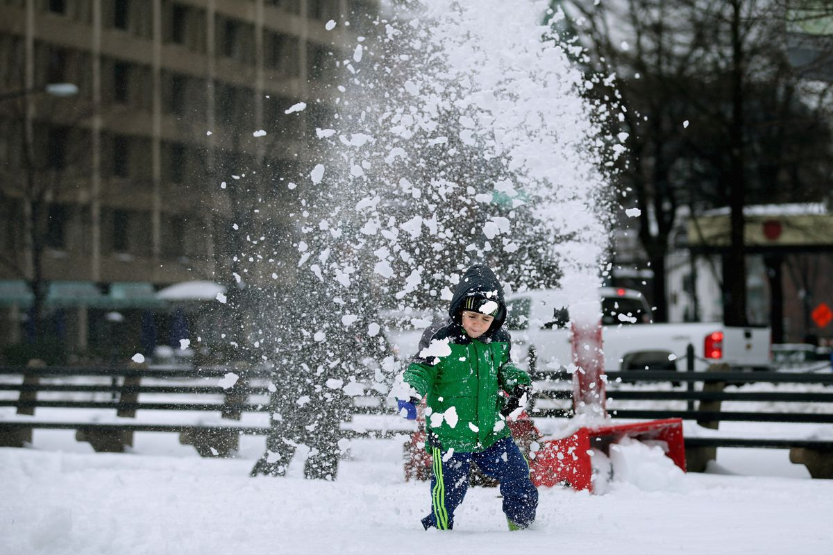 A child in the snow in Washington, DC.