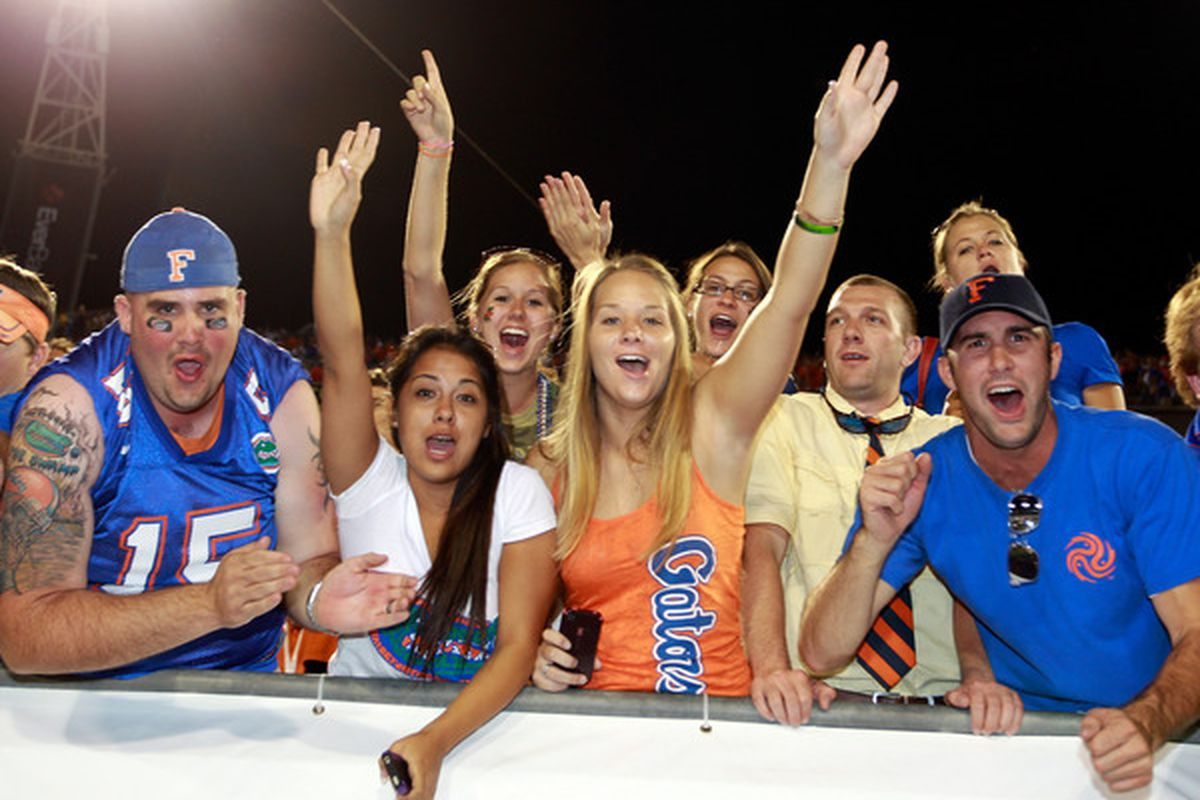 JACKSONVILLE FL - OCTOBER 30: Florida Gator fans celebrate following a victory against the Georgia Bulldogs at EverBank Field on October 30 2010 in Jacksonville Florida.  (Photo by Sam Greenwood/Getty Images)