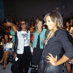Angela Simmons posing for the paps as Natalie Morales looks on