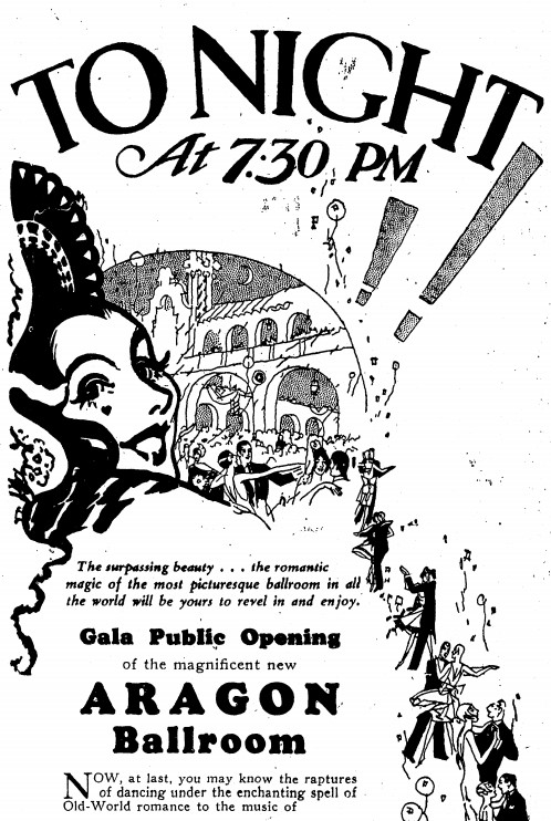 A 1926 ad in the Chicago Daily News previews the opening of the Aragon Ballroom.