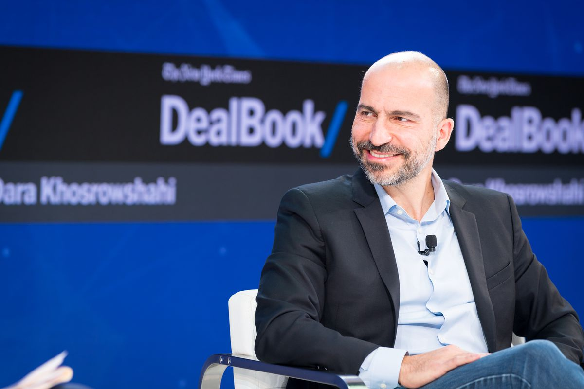 Uber CEO Dara Khosrowshahi onstage at the New York Times 2017 DealBook Conference