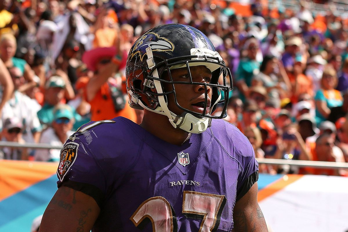 Ray Rice and the running game gradually got better as it got late into Sunday's game against Miami.
