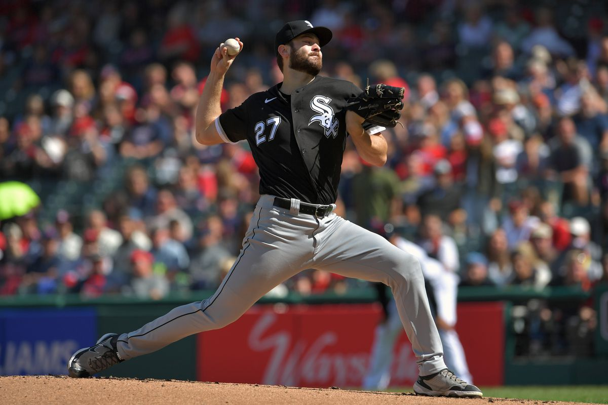 Lucas Giolito pitched six scoreless innings against the Indians at Progressive Field on Sunday.