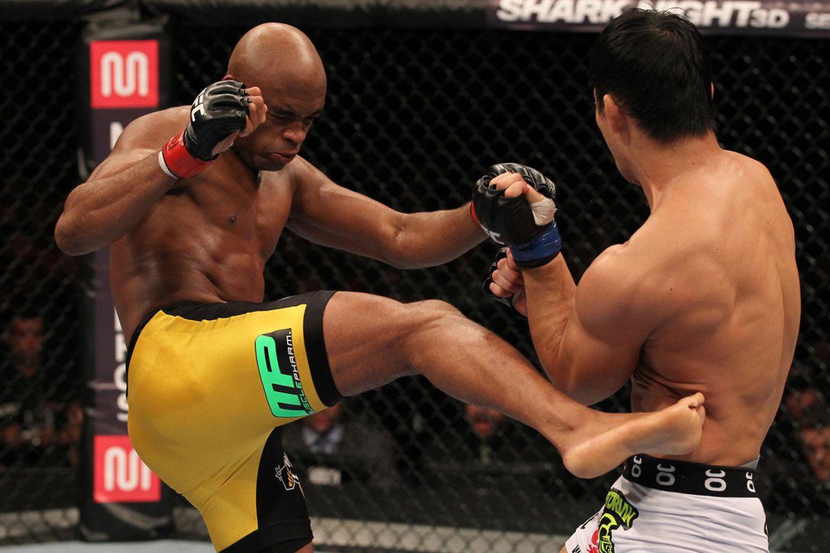 Anderson Silva vs. Yushin Okami Photo by Al Bello, Zuffa LLC, via Getty Images.