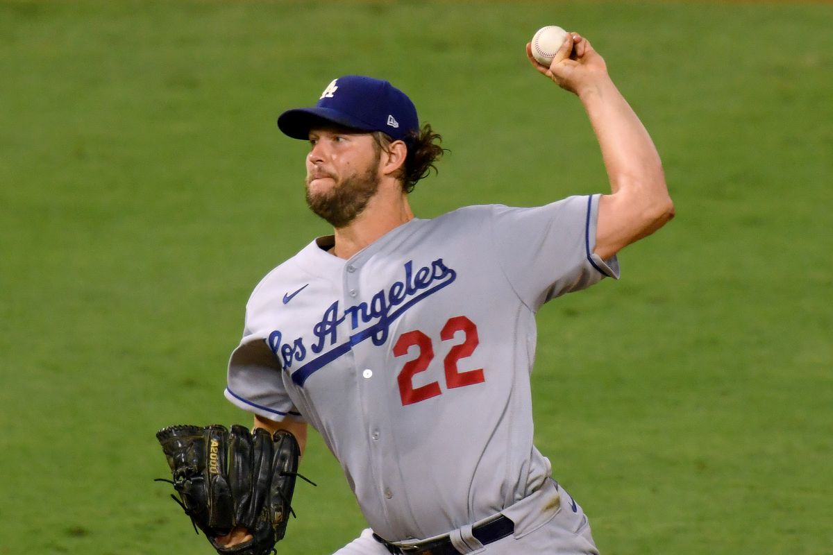 Clayton Kershaw of the Los Angeles Dodgers pitches during the fifth inning against the Los Angeles Angels at Angel Stadium of Anaheim on August 14, 2020 in Anaheim, California.