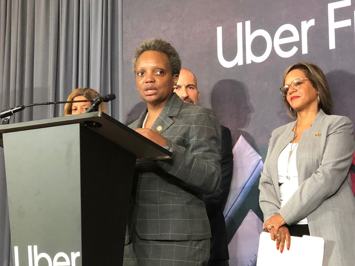 Mayor Lori Lightfoot at a news conference where she touted Uber's new offices at the Old Post Office.