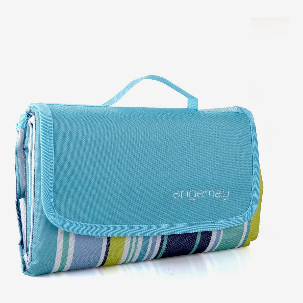 A waterproof picnic blanket with blue and green stripes