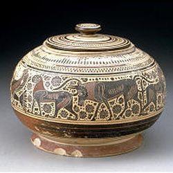 """Lekanus,"" Greek, Middle Corinthian, Archaic Period,<BR>   600-575 B.C., ceramic."