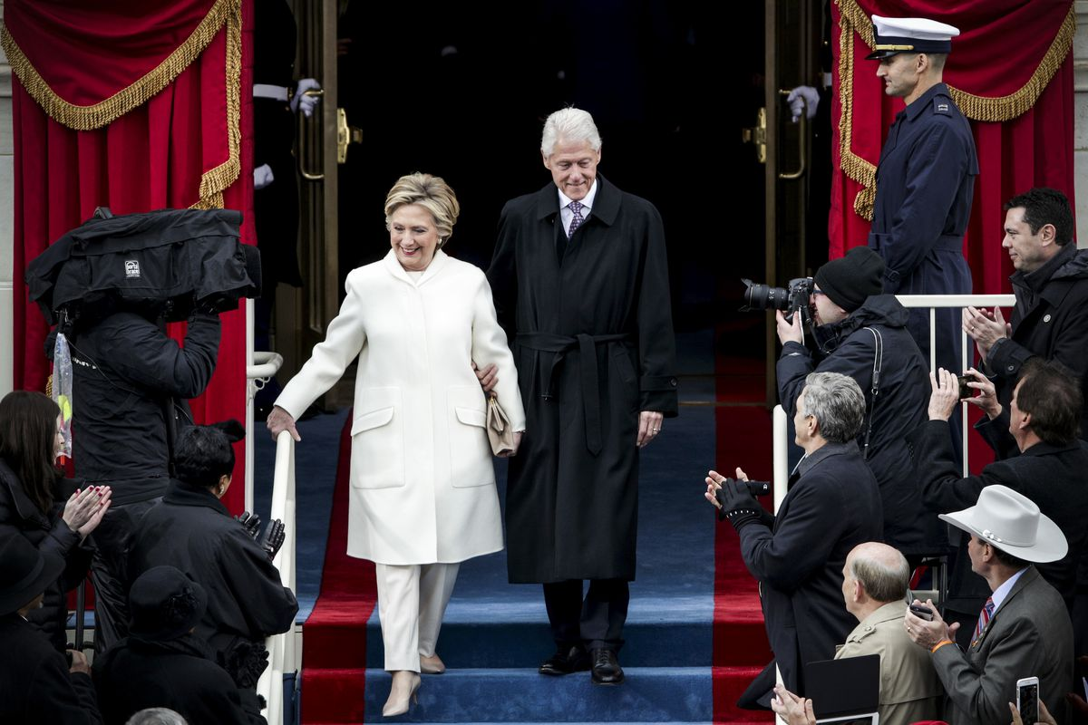 Former Democratic presidential nominee Hillary Clinton arrives with former President Bill Clinton to President Trump's inauguration on January 20, 2017.