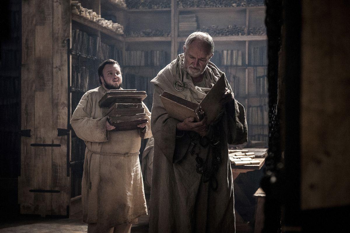 Samwell Tarly follows Archmaester Ebrose around the Citadel in season 7, episode 2