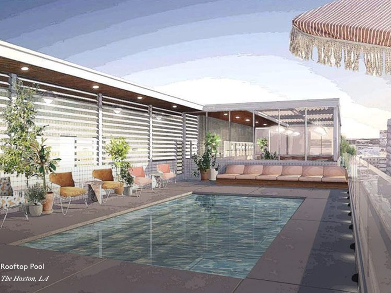 A rendering for the rooftop pool area