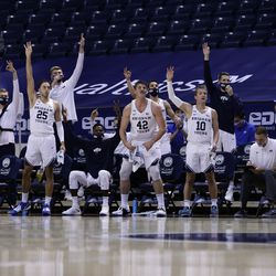 The BYU bench reacted on Thursday, November 26, 2020, during the 86-61 Cuppers win over New Orleans Privateers at Provo's Marriott Center.