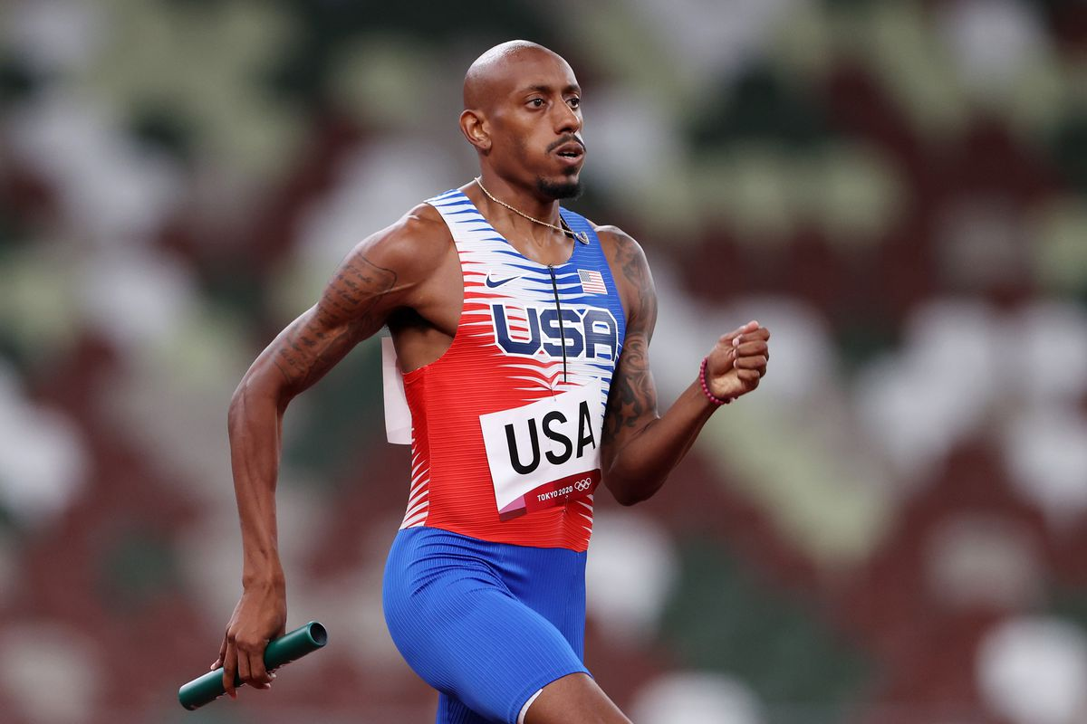 Vernon Norwood of Team United States competes in the Men's 4 x 400m Relay heats on day fourteen of the Tokyo 2020 Olympic Games at Olympic Stadium on August 06, 2021 in Tokyo, Japan.