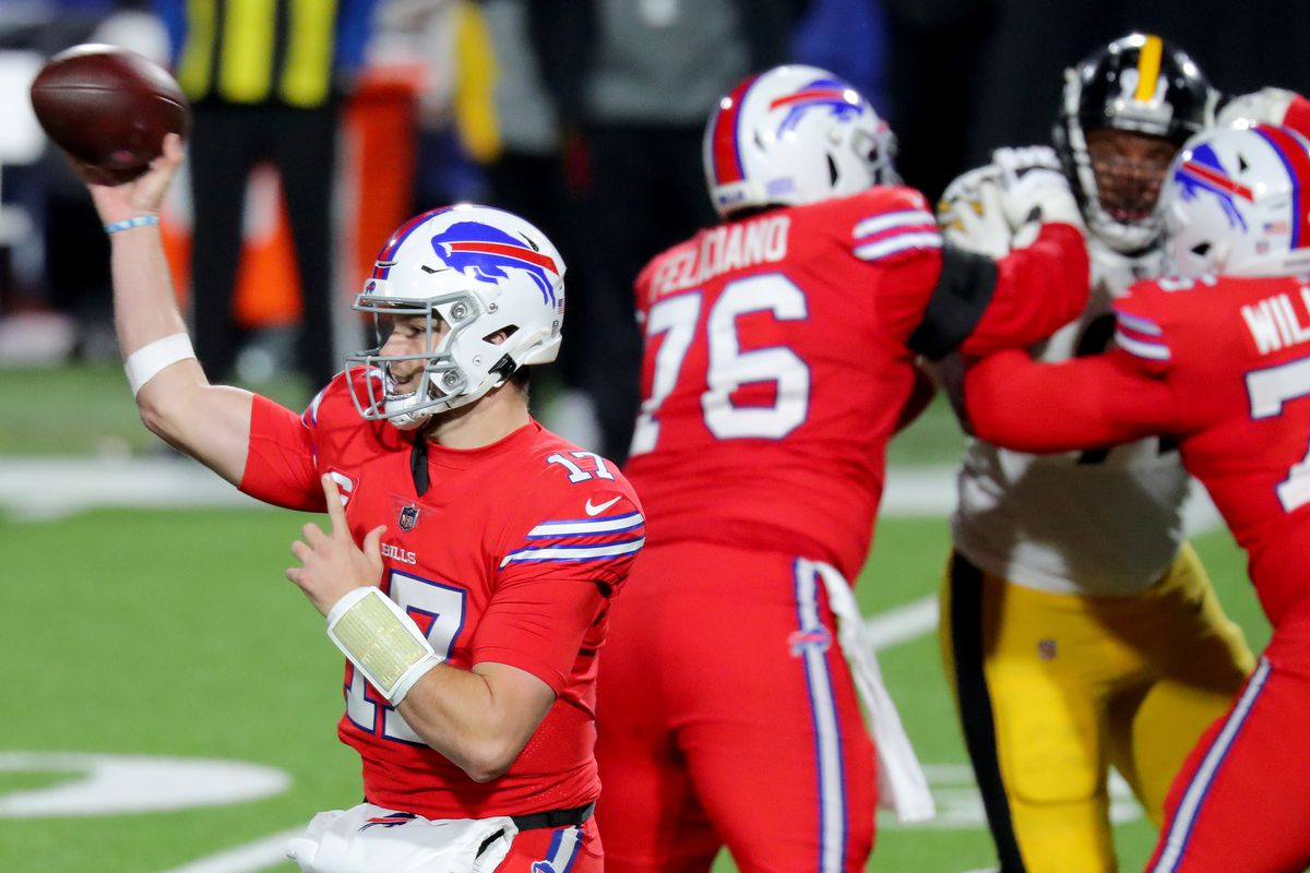 Josh Allen #17 of the Buffalo Bills passes against the Pittsburgh Steelers during the fourth quarter in the game at Bills Stadium on December 13, 2020 in Orchard Park, New York.