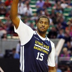 Derrick Favors is introduced before the Utah Jazz's scrimmage in Salt Lake City, Saturday, Oct. 5, 2013.