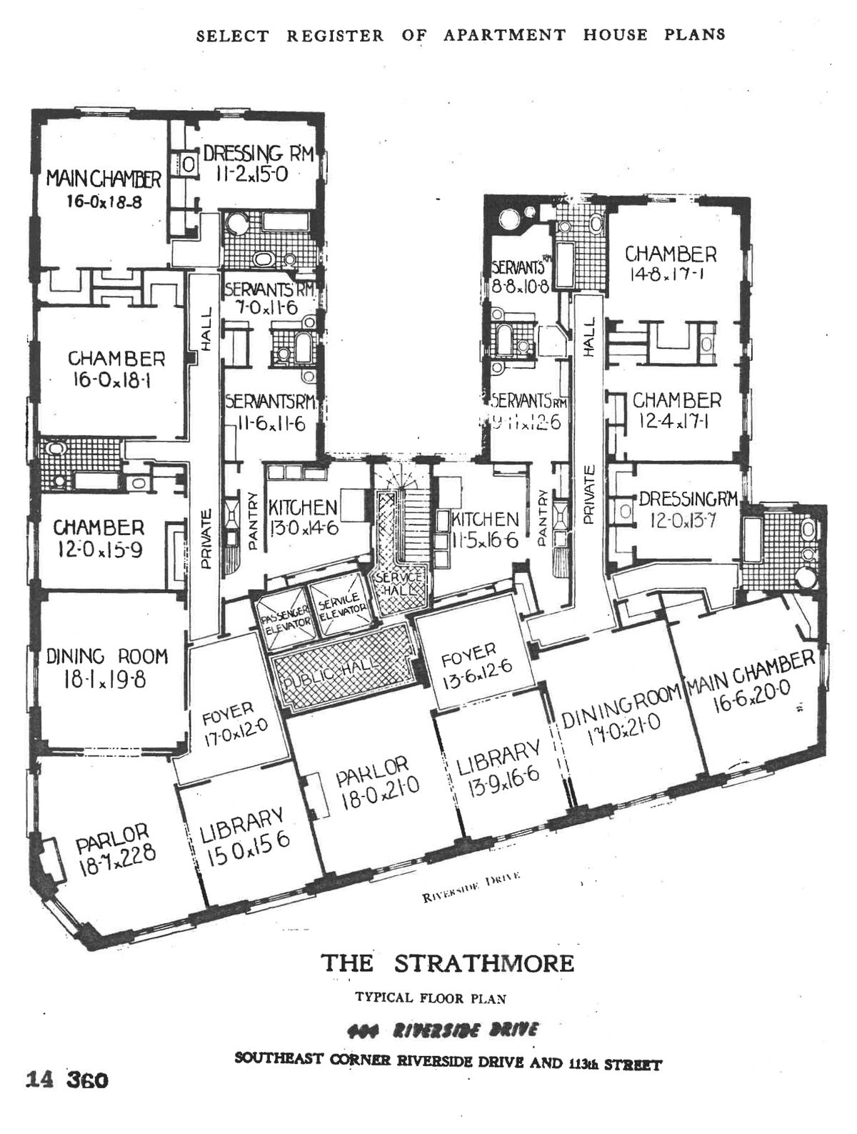 Floor plan showing an entire floor of an apartment building.