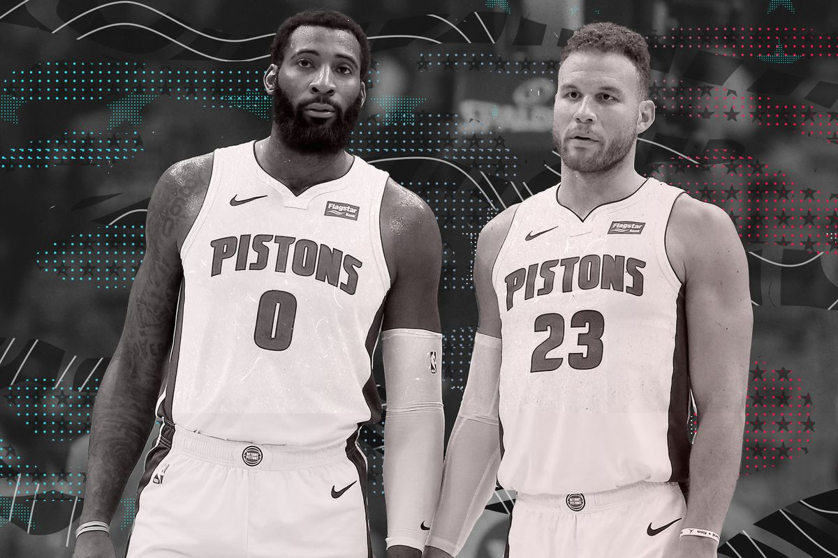 Andre Drummond (left) and Blake Griffin (right) on the Pistons.