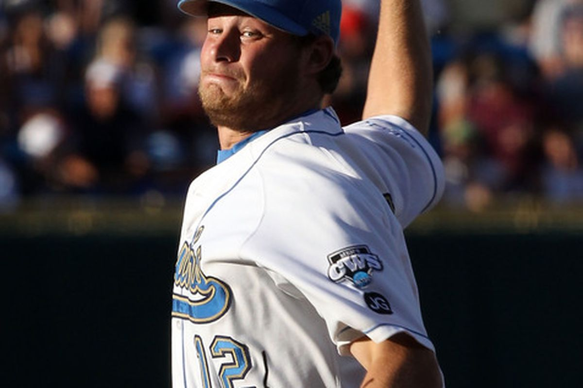 Gerrit Cole, shown here pitching in last year's College World Series, was everything he was advertised to be last night in defeating WSU with a complete game five-hitter.
