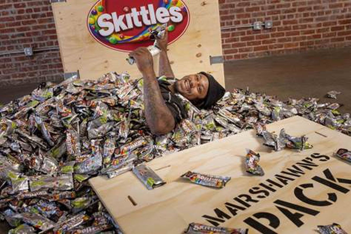 Marshawn Lynch Loves Him Some Skittles The Candy Company Caught Wind Of This Fact A Few Years Back And Since Then Has Been Face