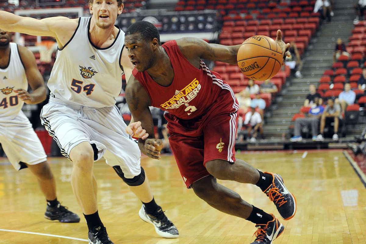 July 17, 2012; Las Vegas, NV, USA;   Cleveland Cavaliers guard Dion Waiters (3) drives to the basket as Phoenix Suns forward Matt Howard (54) defends during the game at the Thomas and Mack Center. Mandatory Credit: Jayne Kamin-Oncea-US PRESSWIRE