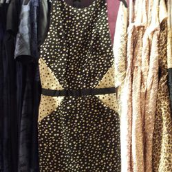 <b>Nicole Miller</b> Golden Galaxy Dress, $75 rental