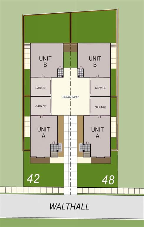 A rendering of a site plan with four townhomes.
