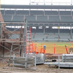 Looking through Gate Q in the right-field corner on Sheffield. Note the removal of part of the wall on the left