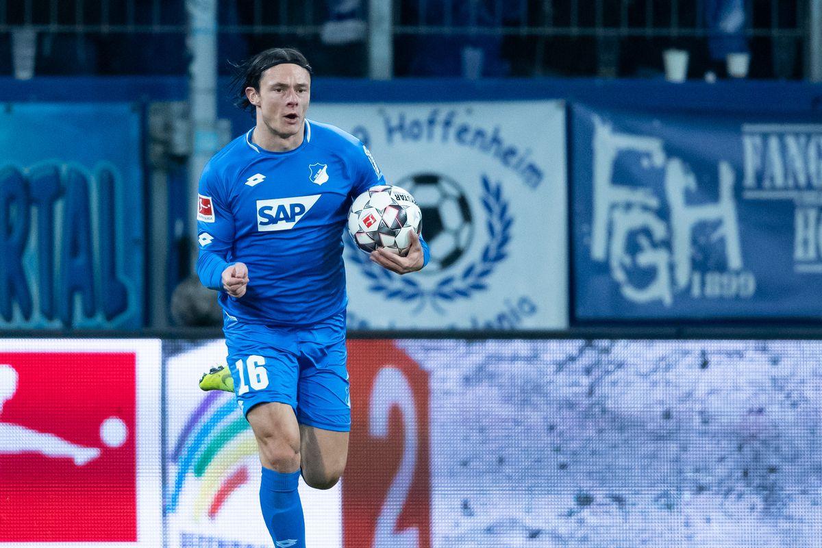 SINSHEIM, GERMANY - JANUARY 18: Nico Schulz of Hoffenheim celebrates his team's first goal during the Bundesliga match between TSG 1899 Hoffenheim and FC Bayern Muenchen at PreZero-Arena on January 18, 2019 in Sinsheim, Germany.