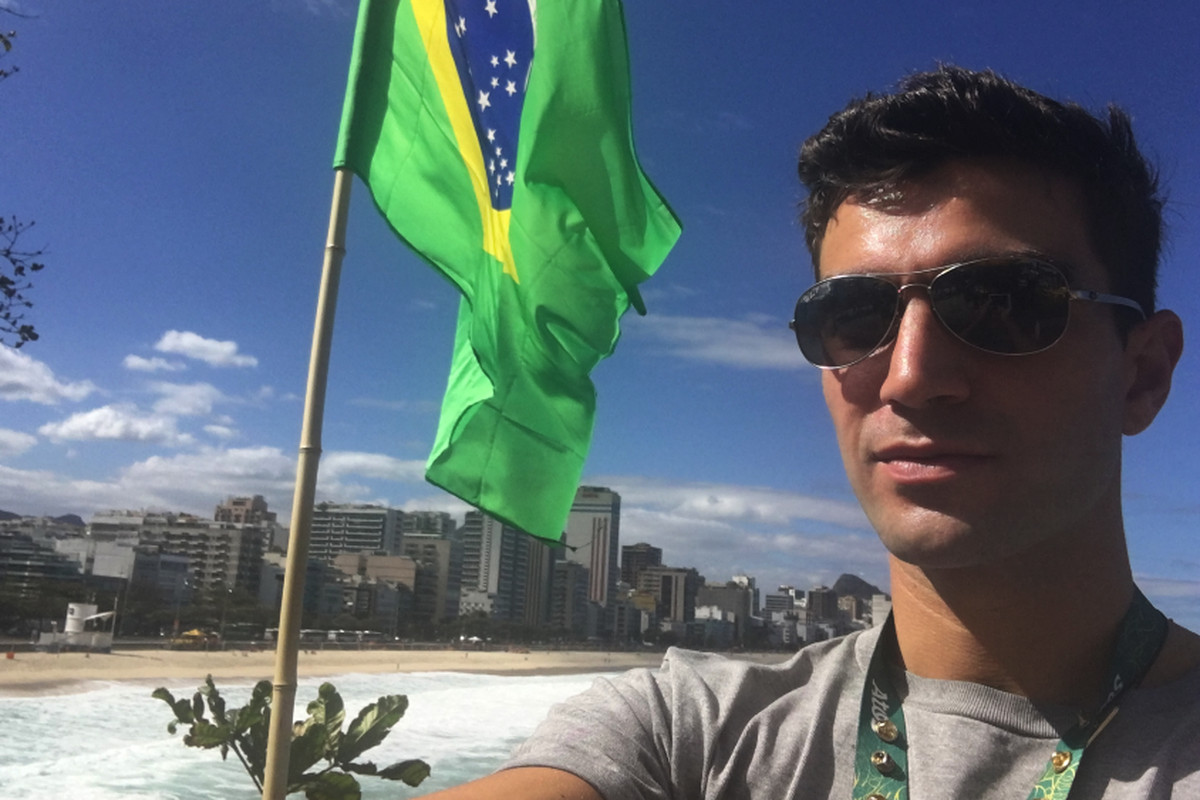 Amini Fonua taking in Rio. He competed in swimming for the second straight Summer Olympics.