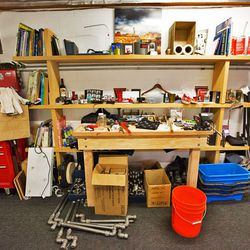 """""""My office should just be a workshop,"""" Bernstein said of his work bench."""