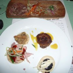 Ben Ford of Ford's Filling Station (Hereford Pig - Hopkins Hog Farm)<br /><br />-Headcheese, pickled tongue, and marinated ears <br />-Blood Sausage with soubise and apple slaw<br />-Scrapple with broken yolk and candied bacon<br />-Pork Belly and cranber