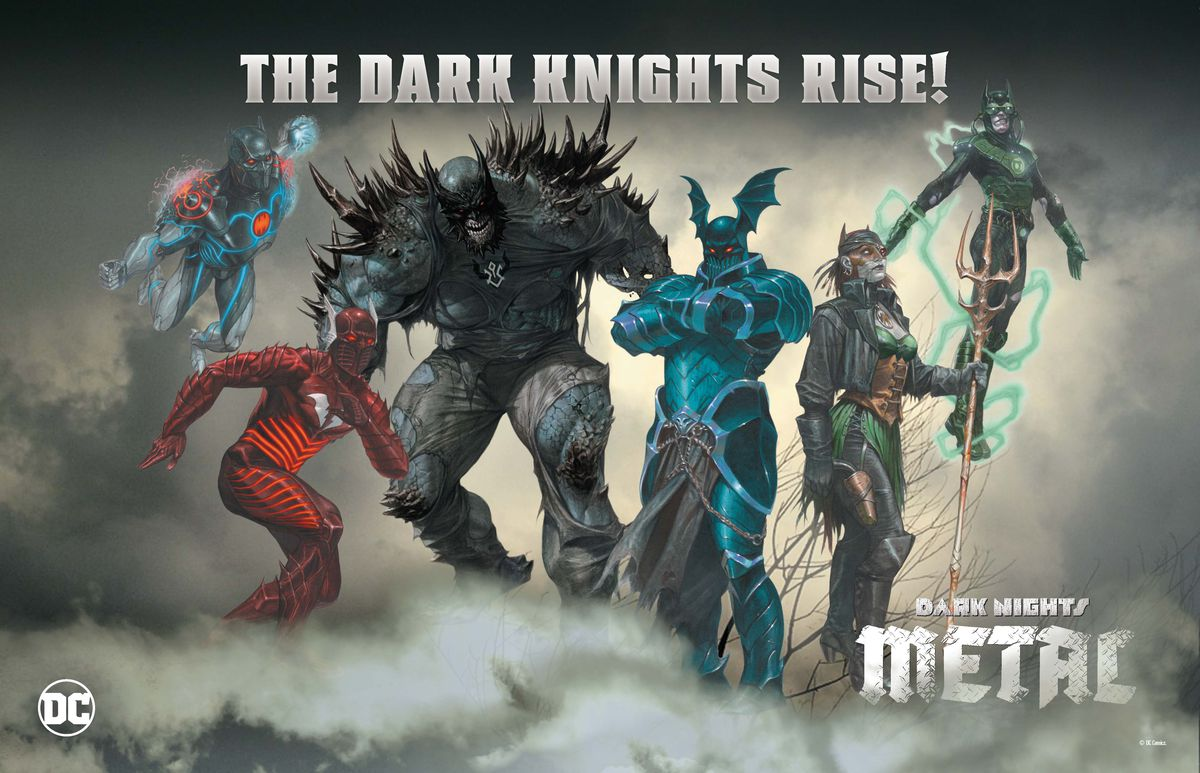 Six of the seven Nightmare Batmen of DC Comics' Dark Nights: Metal crossover event (2017).