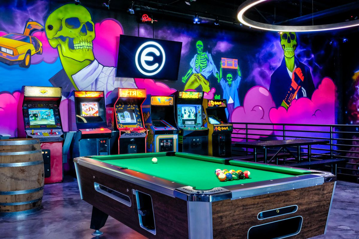 A pool table and video games