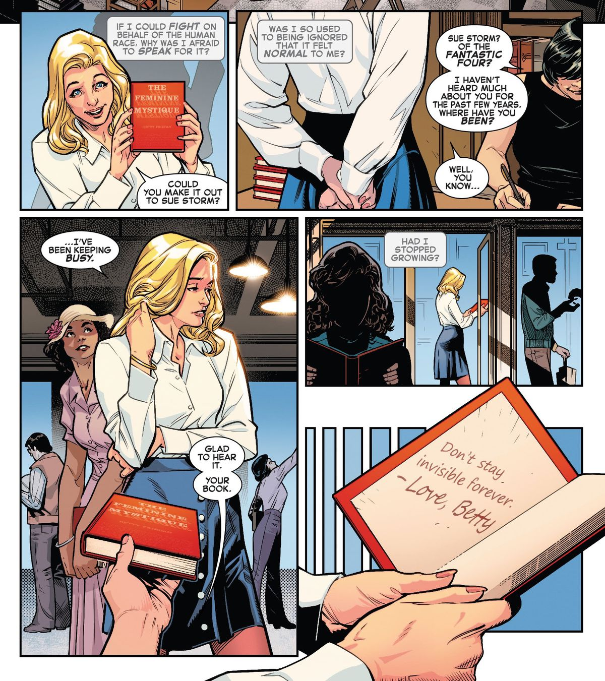 Sue Storm gets her copy of The Feminine Mystique signed by Betty Friedan in Fantastic Four: Life Story #2 (2021).