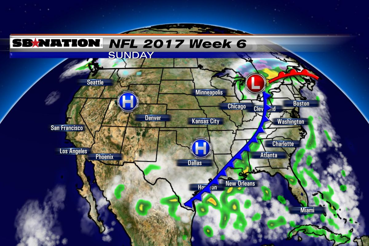 Texas Weather Map Forecast.Nfl Weather Forecast 2017 Week 6 Only A Few Games Impacted By