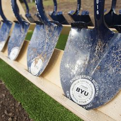 The shovels used during groundbreaking ceremony for a new engineering building at BYU in Provo on Monday, May 9, 2016. The new building was entirely funded by donors.