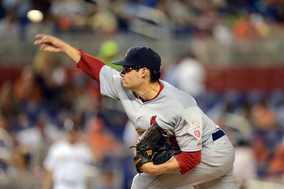 June 27, 2012; Miami, FL, USA; St. Louis Cardinals starting pitcher Joe Kelly (58) throws during the sixth inning against the Miami Marlins at Marlins Park. Marlins won 5-3. Mandatory Credit: Steve Mitchell-US PRESSWIRE