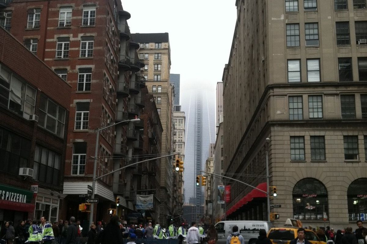 On a foggy Sunday morning, The Freedom Tower ascends into the clouds. (Photo courtesy of Keith Williams)