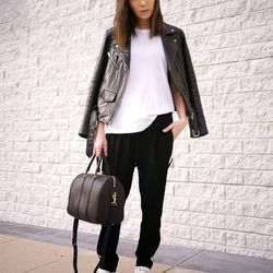 """Jayne of <a href=""""http://www.stopitrightnow.com """"target=""""_blank""""> Stop It Right Now</a> is wearing a Veda jacket and an A.L.C. <a href=""""http://www.neimanmarcus.com/ALC-Malto-Cotton-Jacket-Cotton-Muscle-Tank-Tony-Drawstring-Leather-Pants/prod16571004"""