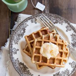 The recipe for Pumpkin Yoghurt Waffles with Honey was created by Becky Rosenthal of thevintagemixer.com